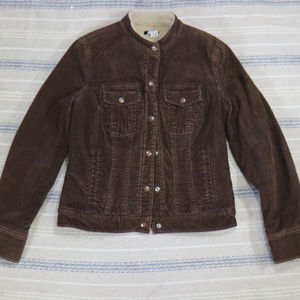 VTG J. CREW Corduroy Shearling Lined Button Jacket